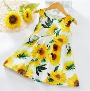size 18-24m to 5-6 years new girls dress sunflower bowknot white cotton dress
