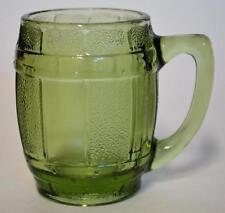Miniature Green Glass Barrel Mug Toothpick Match Votive Holder