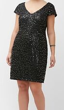 Lane Bryant ADRIANNA PAPELL sequin lace shift dress 22W Black