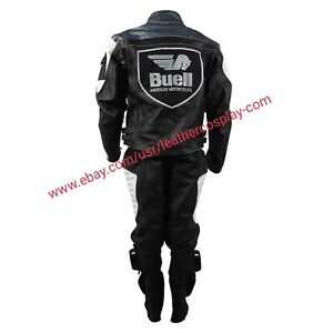 Men Buell Motorcycle White Leather Full Suit / Buell Moto white Leather Suit