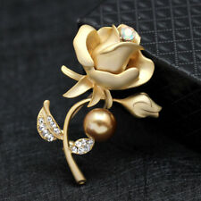 Elegant Rose Flower Shape Crystal Brooch Wedding Bridal Pin Women Jewelry
