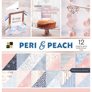 """DCWV Double-Sided Cardstock Stack 12""""X12"""" 36/Pkg-Peri & Peach, 18 Designs/2 Each"""