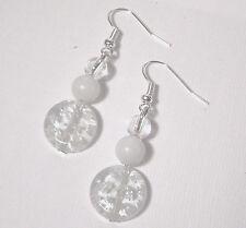BOUCLES OREILLES blanches perle de Verre Ronde Cadeau  Fait Main earring blanc