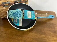 """PIONEER WOMAN TIMELESS BEAUTY TURQUOISE  8"""" FRY PAN With MINI SILICONE SPATULA"""