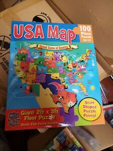 NEW NIB MasterPieces USA Map Jigsaw 100 pieces GIANT FLOOR PUZZLE 2' X 3' FACTS