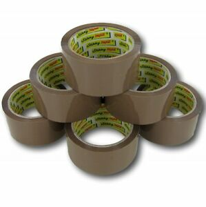 Brown Tape STIKKY Parcel Packing Packaging Cellotape Box Sealing 48MM x66M Rolls