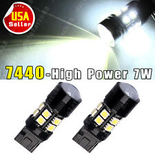 2x White 7440 T20 7W High Power Projector 12SMD LED Light Bulbs Backup Reverse