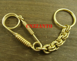 Totally Brass Wire handmade key chain double ring chains pendant H215