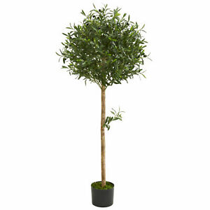 Olive Topiary Artificial Tree Realistic Nearly Natural 5' Home Garden Decor
