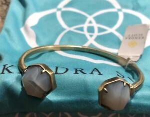 Kendra Scott Brinkley Open Bangle Bracelet Antique Brass & White Banded Agate