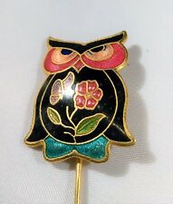 Cloisonne Owl Lapel Stick Pin Black Pink Gold Tone Fancy Halloween Witch Costume