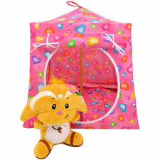Pink, heart print fabric Toy Play Pop Up Camping Tent, 2 Sleeping Bags, handmade