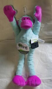 GoDog Crazy Tugs Monkey Toy Large Squeaker Pale Aqua & Fuchsia Chew Guard Fabric