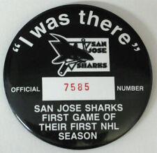 San Jose Sharks 1991 Inaugural Game Pin/Button for Hat/Jersey Vtg Nhl vs Canucks