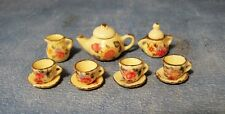 SCALA 1:12 Small Giallo servizio da tè in miniatura casa delle bambole Set da tè in ceramica