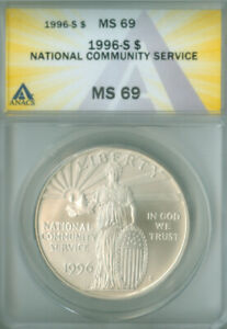 1996-S National Community Service Dollar ANACS MS-69 FREE S/H (2126507)