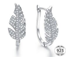 Charming 925 Sterling Silver & White Topaz Leaf Shape Earrings Nature