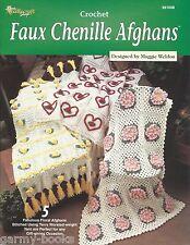 Faux Chenille Afghans Maggie Weldon Crochet Needlecraft Shop Floral Patterns NEW