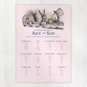 Personalised Wedding Seating Table Plan ~Alice in Wonderland Tea Party Design