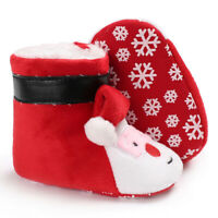 Baby Cozy Fleece Booties Christmas Santa Claus Newborn Shoes Toddler Footwear