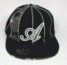Akademiks Black Camo & Pinstripe Logo Baseball Cap/Hat (Size 7 3/4) Fitted Back