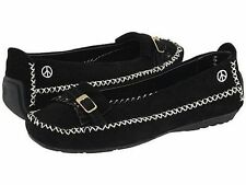 "Womens Peace Moccasin ""Emily"" Black Suede Hardsole Moccasins 6.5B New1205"