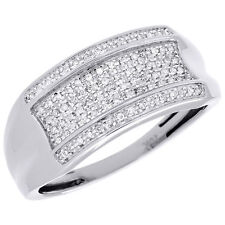 Pave Diamond Wedding Band Mens 10K White Gold Round Cut Engagement Ring 0.14 Ct.