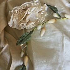 Exquisite Victorian Ruffled Silk Bridal Ribbonwork Rose And Victorian Waxed Buds
