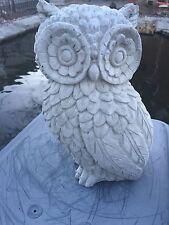 BIG EYE OWL GREY CEMENT ANTIQUED WHITE STATUE CONCRETE Lawn Garden Ornament