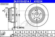 2x Bremsscheibe für Bremsanlage Hinterachse ATE 24.0110-0214.1