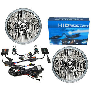 "7"" Crystal Glass/Metal Headlight 8000k Ice Blue HID Light Bulb Headlamp Kit Pair"