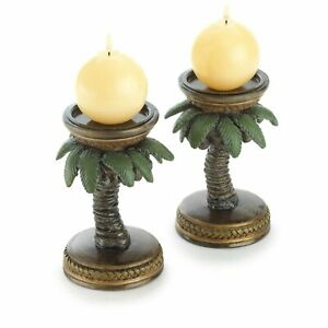 HOME LIGHTING DECOR PAIR COCONUT PALM TREE CANDLE HOLDERS