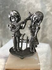 Smr Italy Pewter Couple In Love Figurine With Marble Base