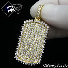MEN 925 STERLING SILVER LAB DIAMOND ICED BLING DOG TAG HIP HOP GOLD PENDANT*G164