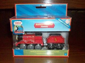 Thomas & Friends Toy Wooden Train Battery-Powered James & Tender, MIB, 2004