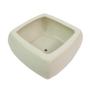Vaso Quadrato Per Piante E Bonsai In Ceramica Bianco Cm. 15,5