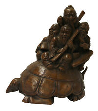 Chinese Bamboo Carved Turtle Old Men Figure Display cs2090