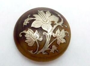 Antique Victorian Horn Sterling Silver Inlay Flower Daffodil Button 25955