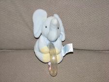 CARTERS JOHN LENNON BABY RING RATTLE STUFFED PLUSH BLUE ELEPHANT TOY VINTAGE EUC