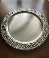 """10 Old Dutch """"Victoria"""" Metal Chargers Antique Pewter for Catering or Parties"""