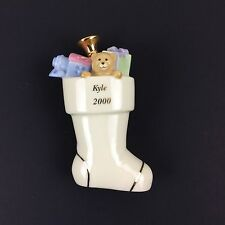 Lenox Gold Club Christmas Stocking Hand Painted Kyle 2000 No Hanger