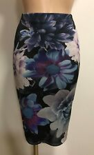 BLUE BLACK FLORAL PRINT CASUAL PENCIL TUBE WIGGLE STRETCH MIDI SKIRT SIZE 10-18
