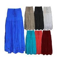 Ladies Womens Elasticated Long Boho Maxi Floral Pattern Cotton Summer Skirt 8-14