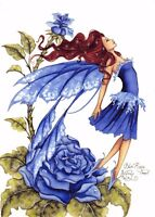 Postcard Amy Brown Gothic Fairy BLUE ROSE 1999 Art Print Collectable