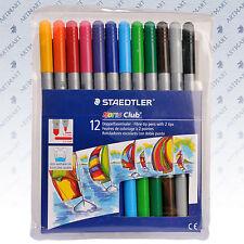 STAEDTLER 12 Colouring Coloured Drawing Art Pens Noris Club® Felt Tip Marker Set