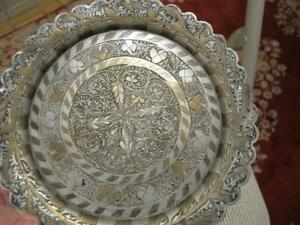 """Antique Middle Eastern Round Tray 8""""  silver plated brass / 2 tone floral design"""