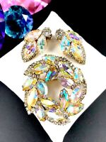 WEISS GOLD-TONE CRYSTAL AURORA BOREALIS RHINESTONE WREATH BROOCH EARRINGS SET