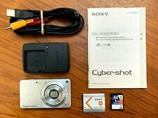 SONY CYBER-SHOT DSC-W350 14.1MP DIGITAL CAMERA SILVER TESTED 4XOPTICAL ZOOM USED