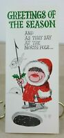 "OZ Eskimo North Pole Funny Vintage Unused Christmas Card 3 7/8"" x 9 1/4"""