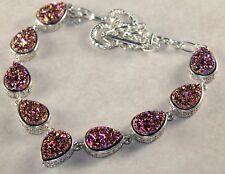 Silver Vintage Style Purple Golden Titanium Druzy Teardrop Necklace WN10712